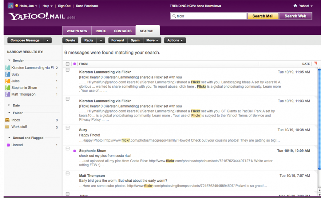 Yahoo! Mail Beta Search Refinement Tool