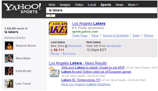 sports search lakers
